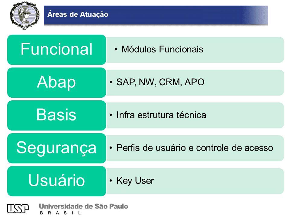 Áreas de Atuação Módulos Funcionais Funcional SAP, NW, CRM, APO Abap Infra estrutura técnica Basis Perfis de usuário e controle de acesso Segurança Ke