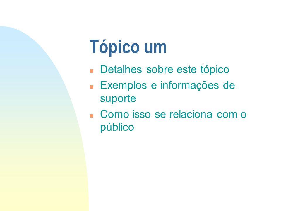 Tópico um n Detalhes sobre este tópico n Exemplos e informações de suporte n Como isso se relaciona com o público