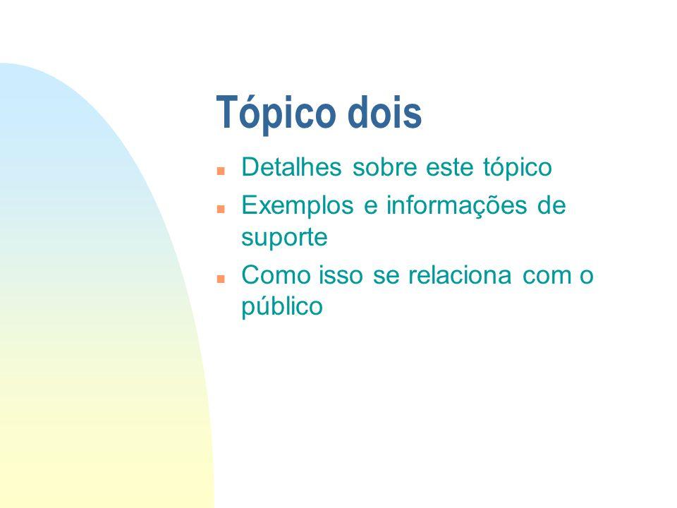 Tópico dois n Detalhes sobre este tópico n Exemplos e informações de suporte n Como isso se relaciona com o público