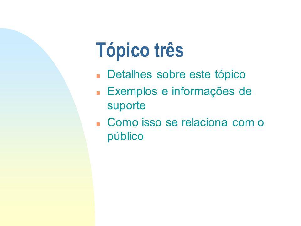 Tópico três n Detalhes sobre este tópico n Exemplos e informações de suporte n Como isso se relaciona com o público