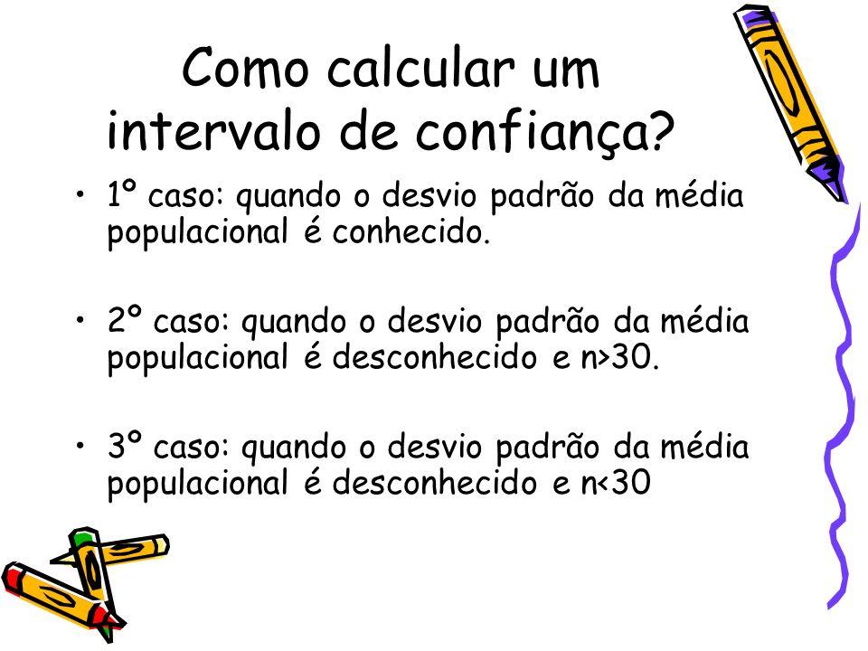 Como calcular um intervalo de confiança? 1º caso: quando o desvio padrão da média populacional é conhecido. 2º caso: quando o desvio padrão da média p