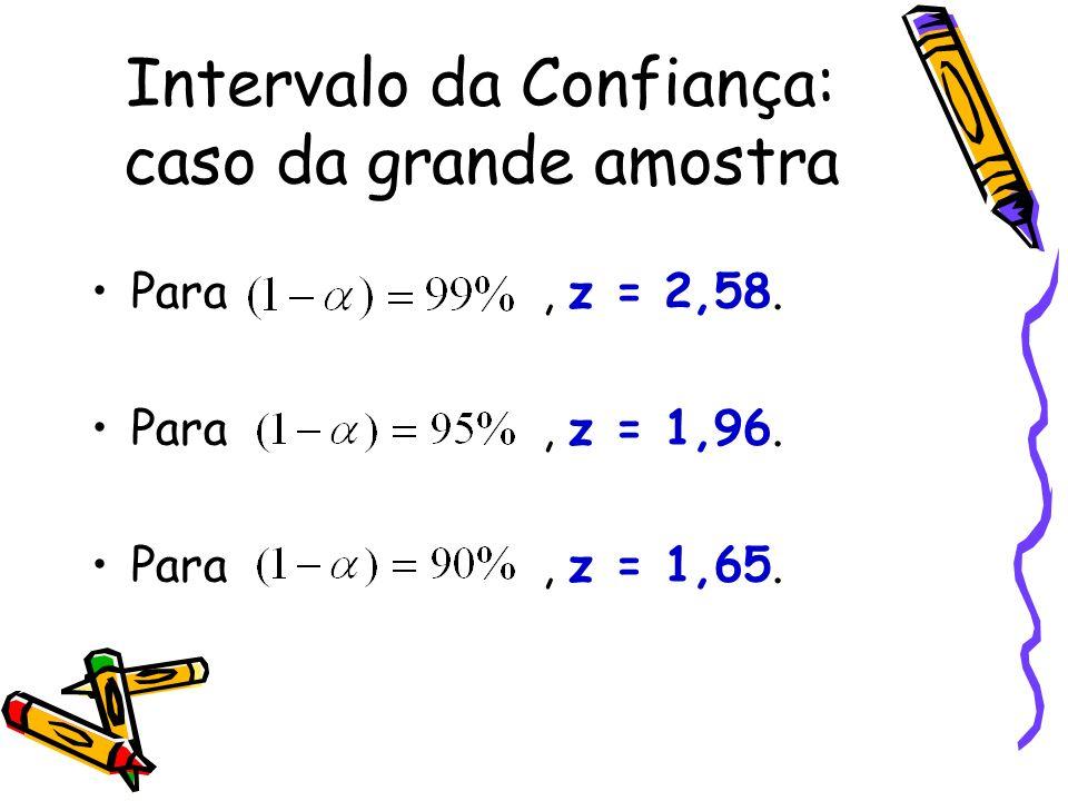 Para, z = 2,58. Para, z = 1,96. Para, z = 1,65.