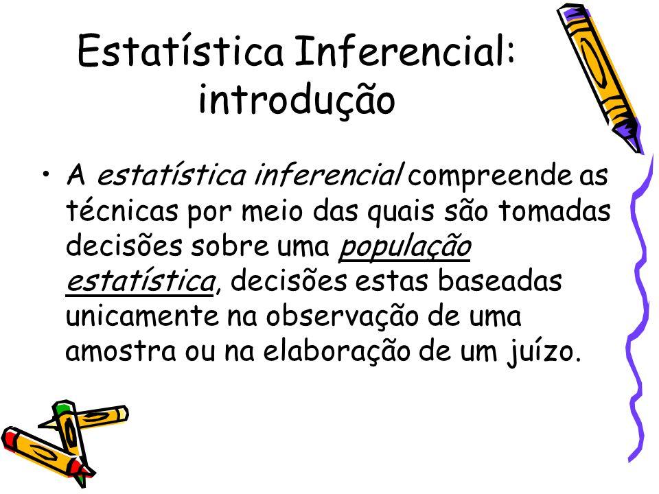 Estatística Inferencial: introdução A estatística inferencial compreende as técnicas por meio das quais são tomadas decisões sobre uma população estat