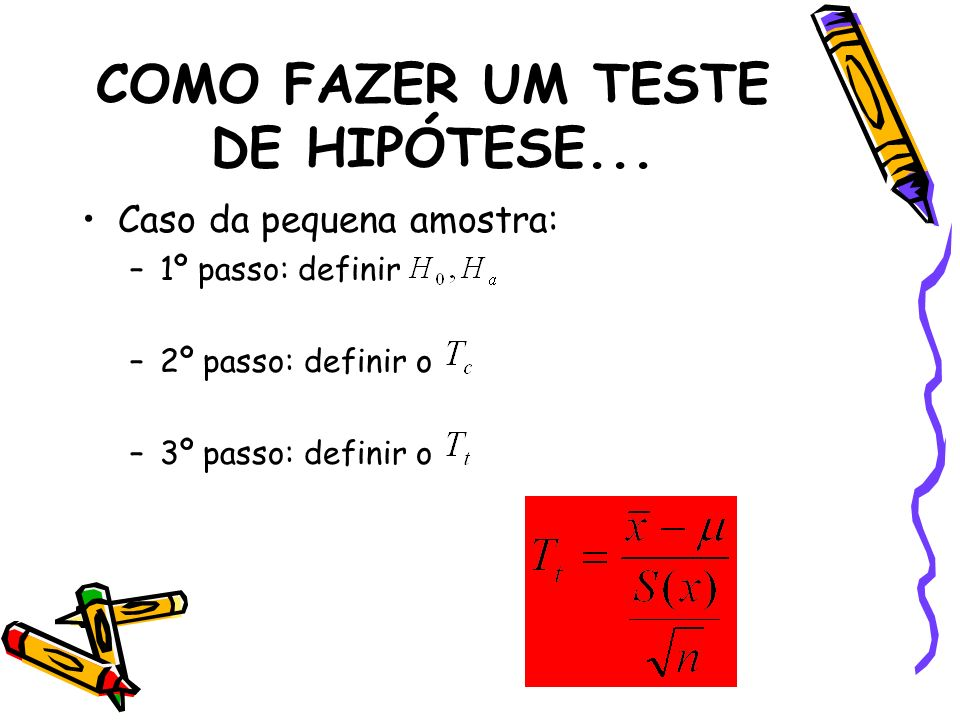COMO FAZER UM TESTE DE HIPÓTESE... Caso da pequena amostra: –1º passo: definir –2º passo: definir o –3º passo: definir o