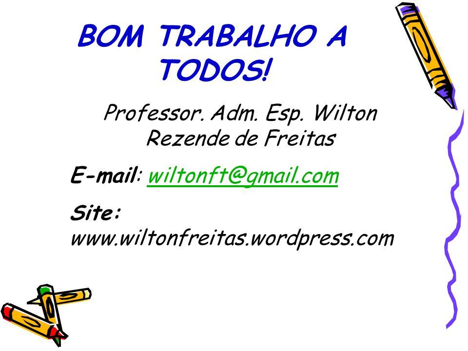 BOM TRABALHO A TODOS! Professor. Adm. Esp. Wilton Rezende de Freitas E-mail: wiltonft@gmail.comwiltonft@gmail.com Site: www.wiltonfreitas.wordpress.co