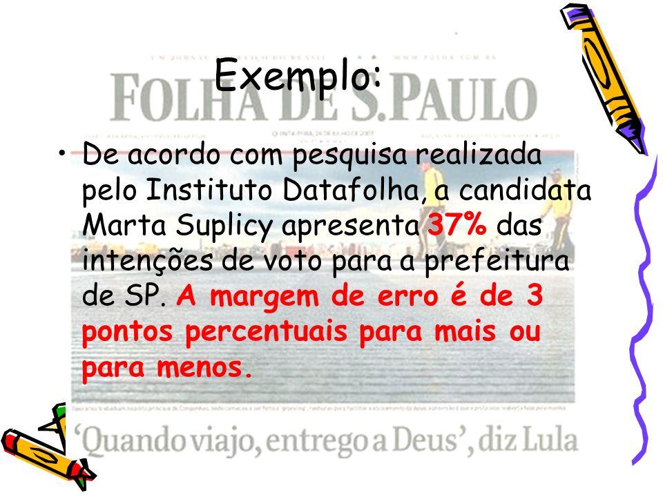 Exemplo: De acordo com pesquisa realizada pelo Instituto Datafolha, a candidata Marta Suplicy apresenta 37% das intenções de voto para a prefeitura de