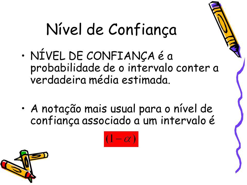 Nível de Confiança NÍVEL DE CONFIANÇA é a probabilidade de o intervalo conter a verdadeira média estimada. A notação mais usual para o nível de confia