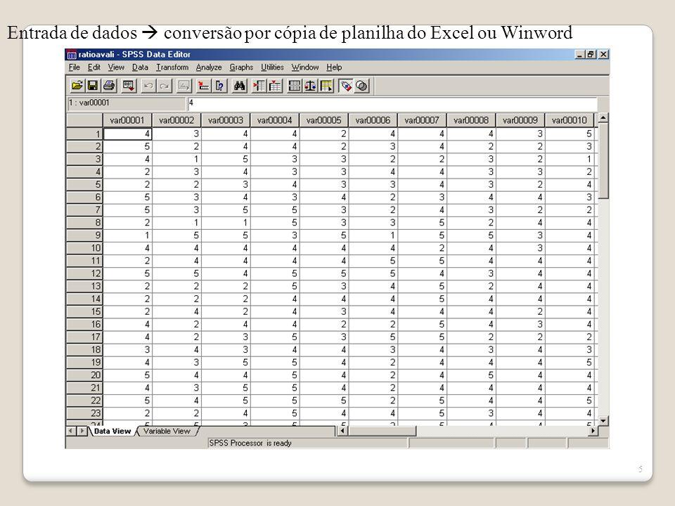5 Entrada de dados conversão por cópia de planilha do Excel ou Winword