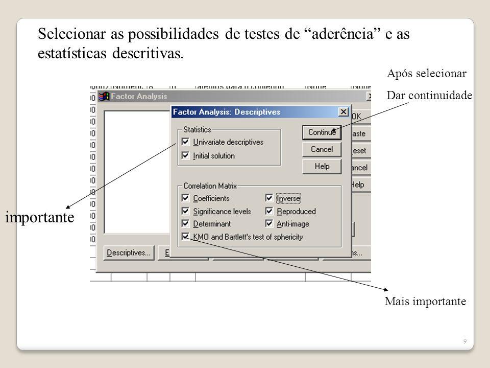 9 Selecionar as possibilidades de testes de aderência e as estatísticas descritivas.