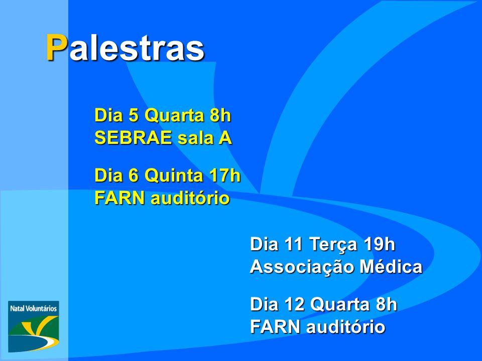 Dia 6 Quinta 17h FARN auditório Palestras Dia 11 Terça 19h Associação Médica Dia 12 Quarta 8h FARN auditório Dia 5 Quarta 8h SEBRAE sala A