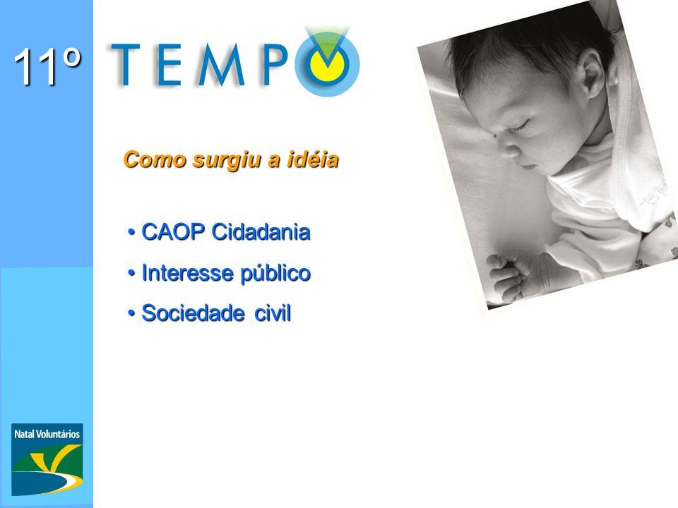 11º Como surgiu a idéia CAOP Cidadania CAOP Cidadania Interesse público Interesse público Sociedade civil Sociedade civil
