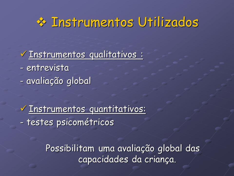 Instrumentos Utilizados Instrumentos Utilizados Instrumentos qualitativos : Instrumentos qualitativos : - entrevista - avaliação global Instrumentos q
