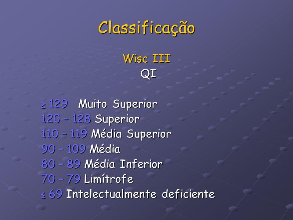 Classificação Wisc III QI QI 129 Muito Superior 129 Muito Superior 120 – 128 Superior 110 – 119 Média Superior 90 – 109 Média 80 – 89 Média Inferior 7