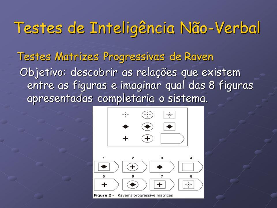 Testes de Inteligência Não-Verbal Testes Matrizes Progressivas de Raven Objetivo: descobrir as relações que existem entre as figuras e imaginar qual d