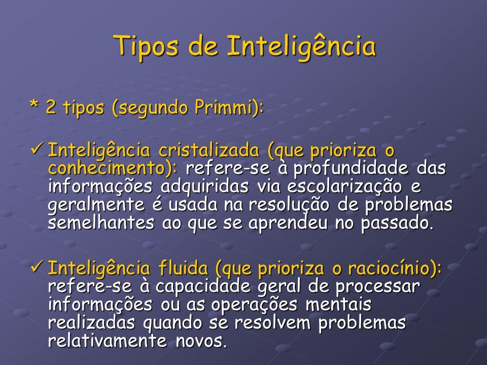 Tipos de Inteligência * 2 tipos (segundo Primmi): Inteligência cristalizada (que prioriza o conhecimento): refere-se à profundidade das informações ad