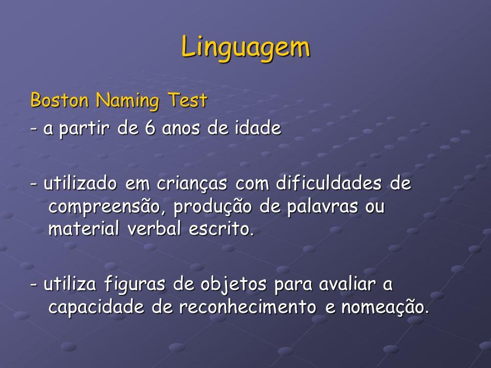 Linguagem Boston Naming Test - a partir de 6 anos de idade - utilizado em crianças com dificuldades de compreensão, produção de palavras ou material v