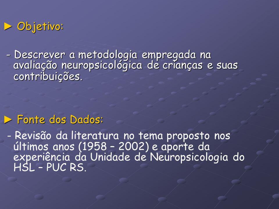 Objetivo: Objetivo: - Descrever a metodologia empregada na avaliação neuropsicológica de crianças e suas contribuições. - Descrever a metodologia empr