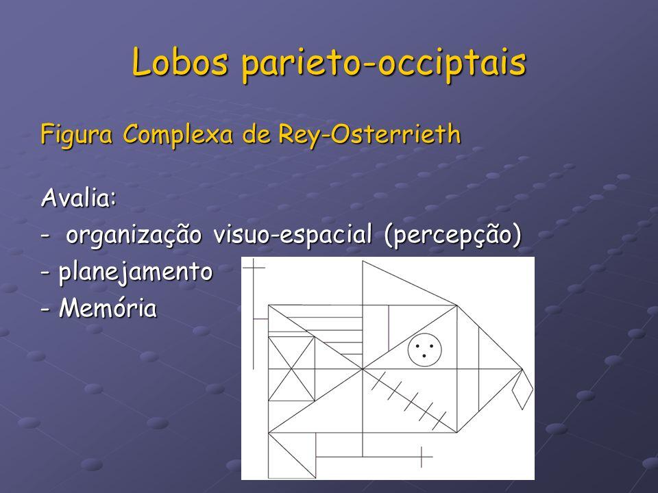 Lobos parieto-occiptais Figura Complexa de Rey-Osterrieth Avalia: - organização visuo-espacial (percepção) - planejamento - Memória