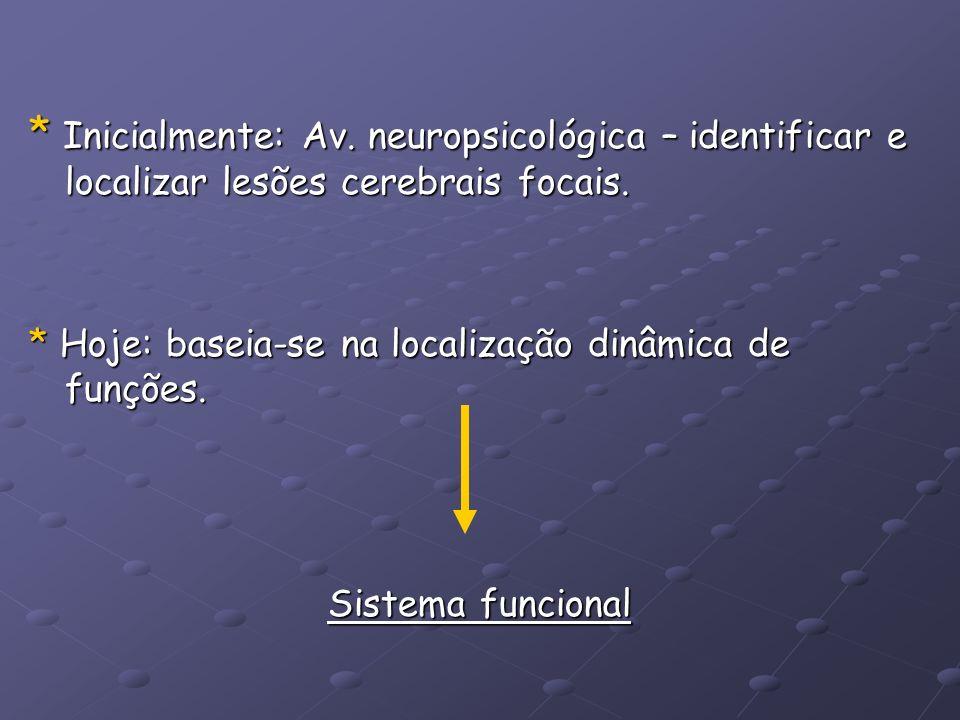 * Inicialmente: Av. neuropsicológica – identificar e localizar lesões cerebrais focais. * Hoje: baseia-se na localização dinâmica de funções. Sistema