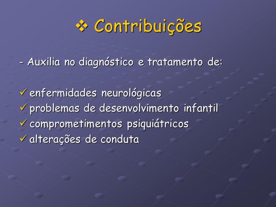Contribuições Contribuições - Auxilia no diagnóstico e tratamento de: enfermidades neurológicas enfermidades neurológicas problemas de desenvolvimento