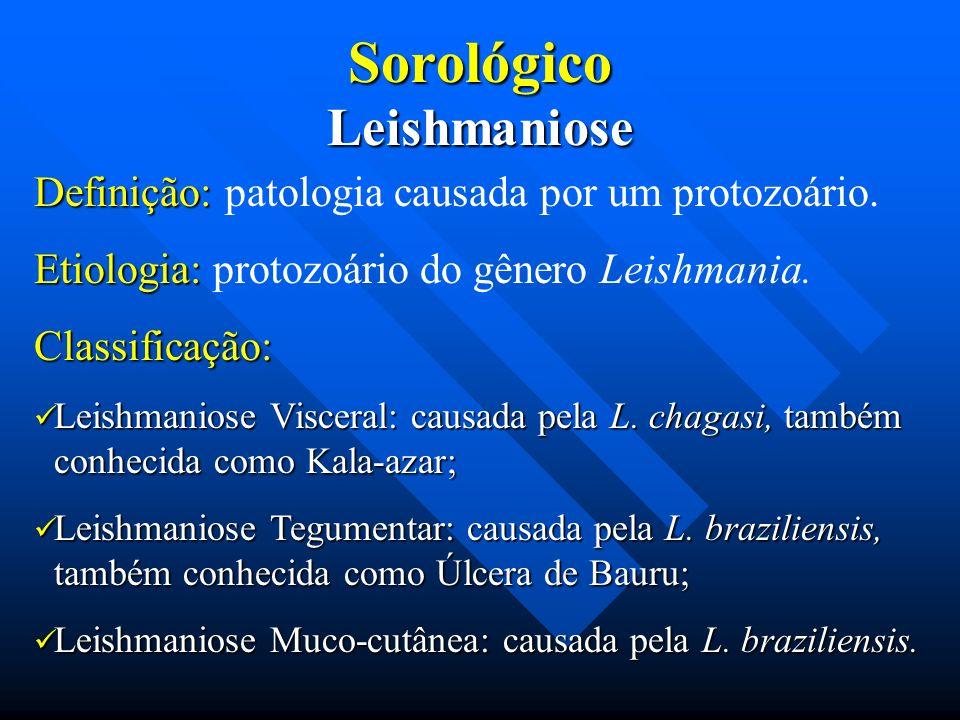 SorológicoLeishmaniose Definição: Definição: patologia causada por um protozoário. Etiologia: Etiologia: protozoário do gênero Leishmania.Classificaçã