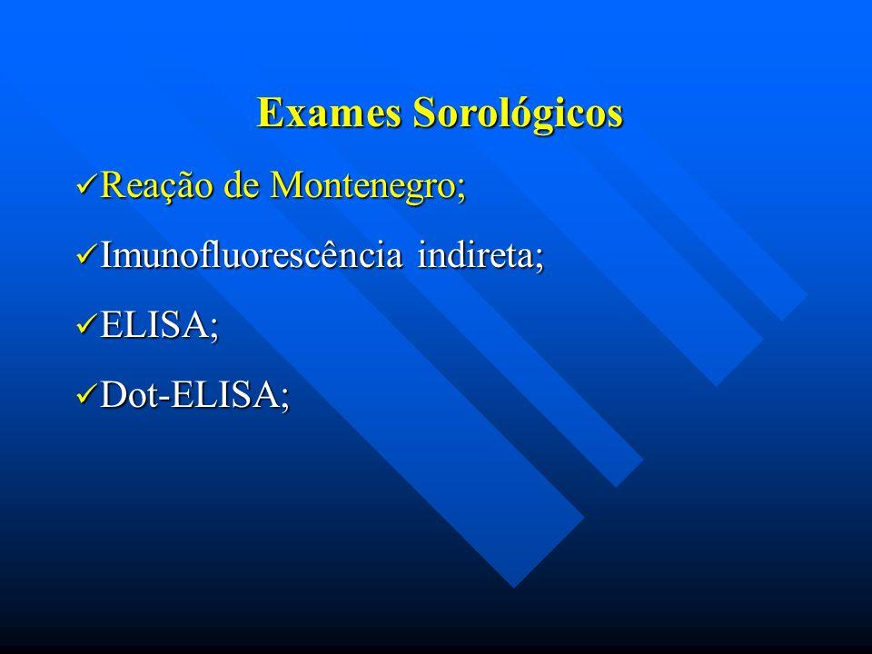 Exames Sorológicos Reação de Montenegro; Reação de Montenegro; Imunofluorescência indireta; Imunofluorescência indireta; ELISA; ELISA; Dot-ELISA; Dot-
