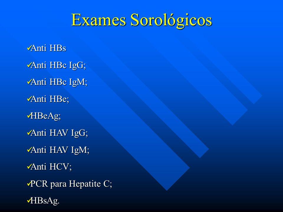 Exames Sorológicos Anti HBs Anti HBs Anti HBc IgG; Anti HBc IgG; Anti HBc IgM; Anti HBc IgM; Anti HBe; Anti HBe; HBeAg; HBeAg; Anti HAV IgG; Anti HAV