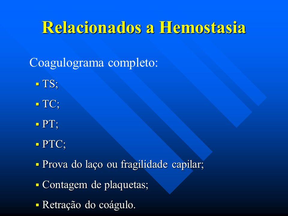 Relacionados a Hemostasia Coagulograma completo: TS; TS; TC; TC; PT; PT; PTC; PTC; Prova do laço ou fragilidade capilar; Prova do laço ou fragilidade