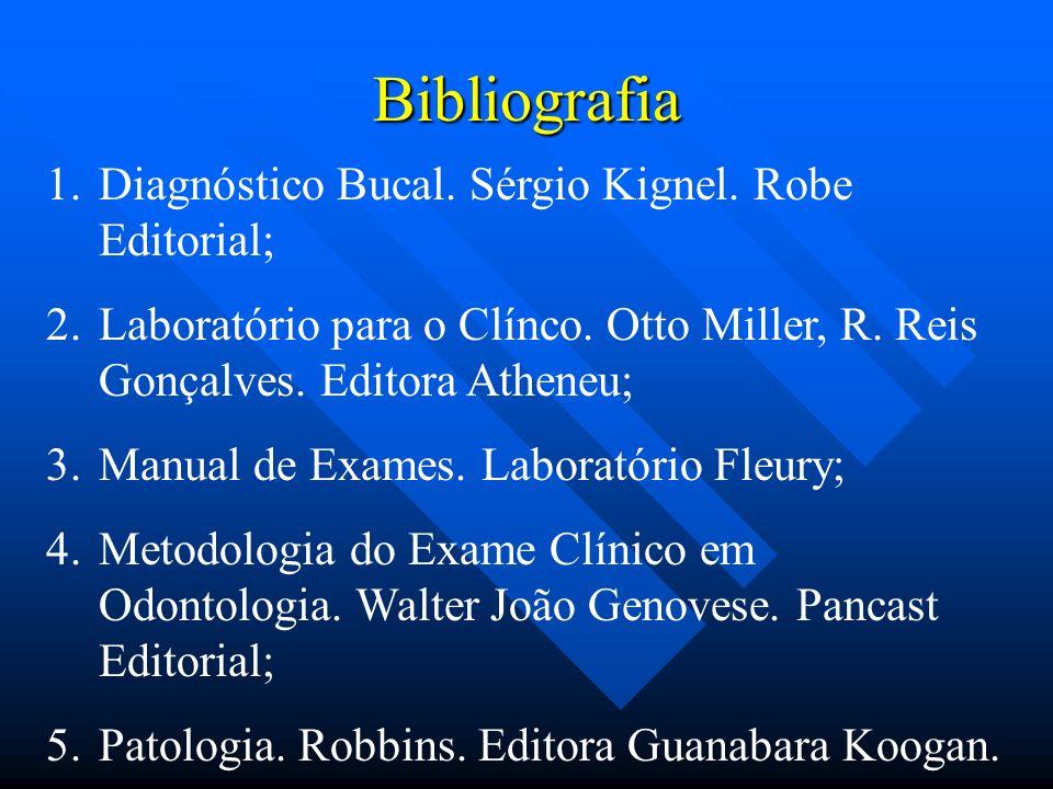 Bibliografia 1.Diagnóstico Bucal. Sérgio Kignel. Robe Editorial; 2.Laboratório para o Clínco. Otto Miller, R. Reis Gonçalves. Editora Atheneu; 3.Manua