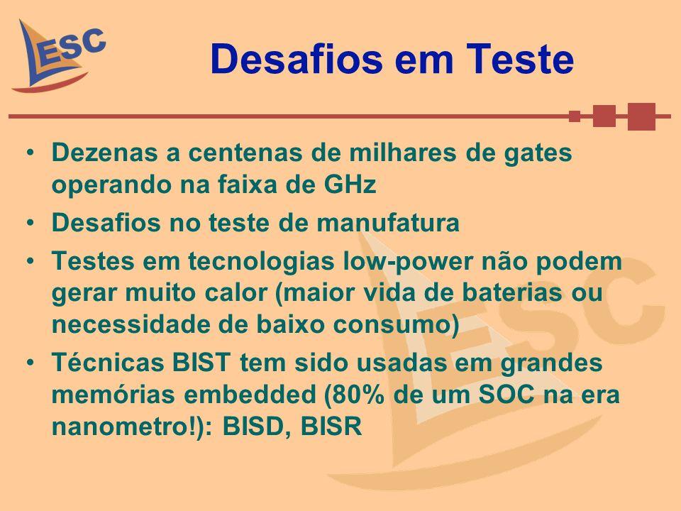 Desafios em Teste Dezenas a centenas de milhares de gates operando na faixa de GHz Desafios no teste de manufatura Testes em tecnologias low-power não