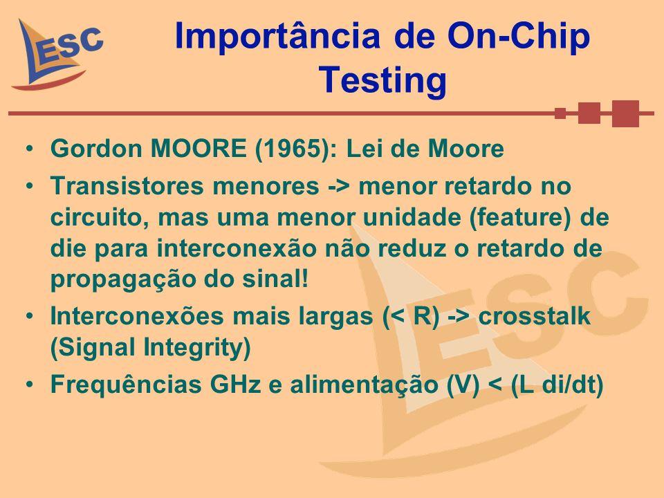 Importância de On-Chip Testing Gordon MOORE (1965): Lei de Moore Transistores menores -> menor retardo no circuito, mas uma menor unidade (feature) de