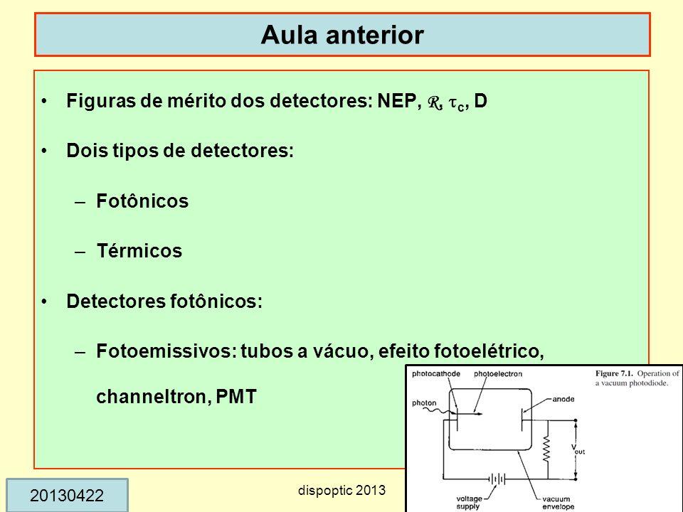 Aula anterior Figuras de mérito dos detectores: NEP, R, c, D Dois tipos de detectores: –Fotônicos –Térmicos Detectores fotônicos: –Fotoemissivos: tubo
