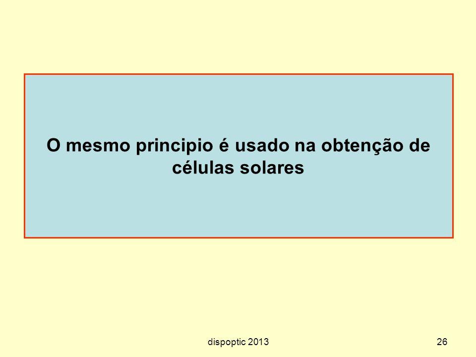 26 O mesmo principio é usado na obtenção de células solares dispoptic 2013
