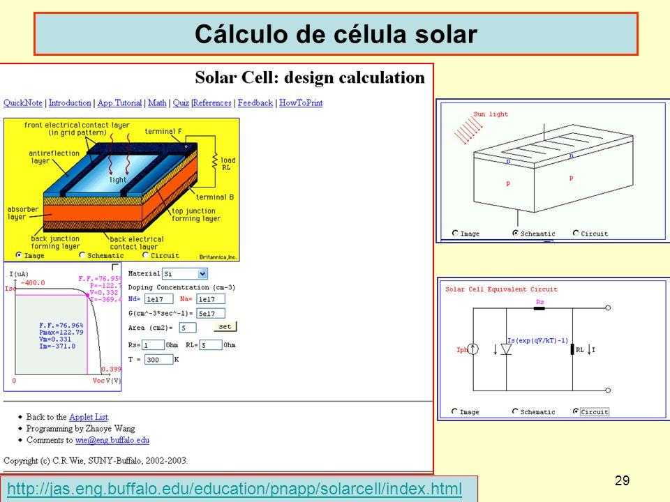 dispoptic 201329 Cálculo de célula solar http://jas.eng.buffalo.edu/education/pnapp/solarcell/index.html