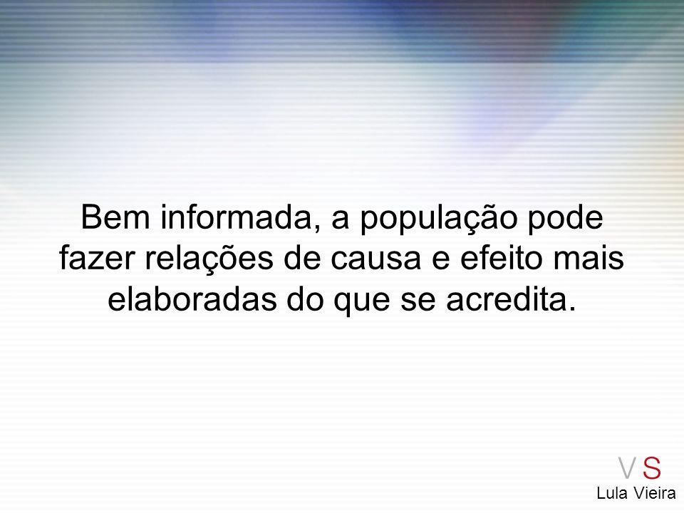 Lula Vieira Bem informada, a população pode fazer relações de causa e efeito mais elaboradas do que se acredita.