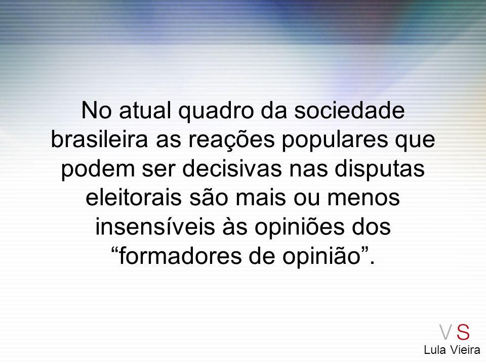 Lula Vieira No atual quadro da sociedade brasileira as reações populares que podem ser decisivas nas disputas eleitorais são mais ou menos insensíveis