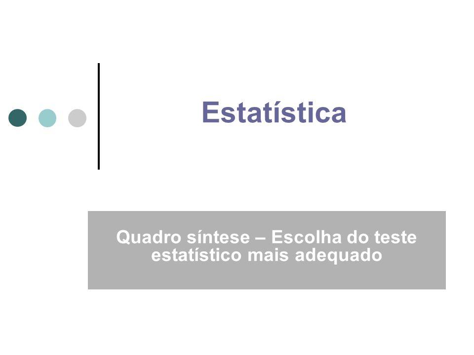 Estatística Descritiva Objectivo: Descrever amostras Ferramentas: Tabelas, gráficos, medidas de posição, medidas de tendência central, medidas de dispersão Estatística Inferencial Objectivo: Retirar informação útil sobre a população partindo de dados amostrais Ferramentas: Estimativas pontuais e de intervalo de parâmetros populacionais, testes de hipóteses