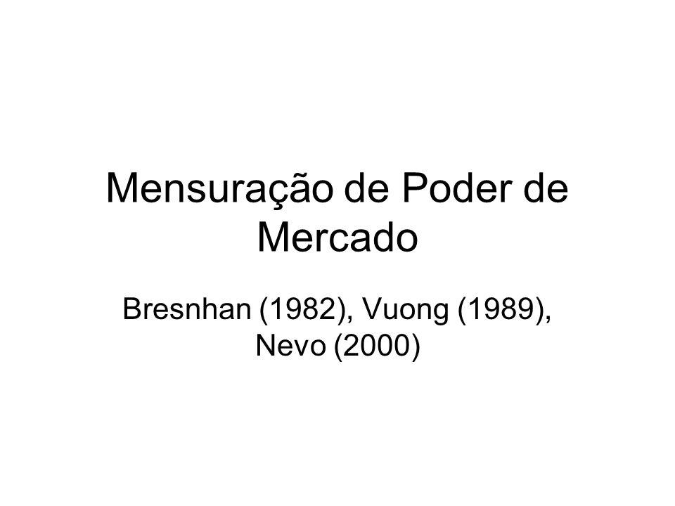 Mensuração de Poder de Mercado Bresnhan (1982), Vuong (1989), Nevo (2000)