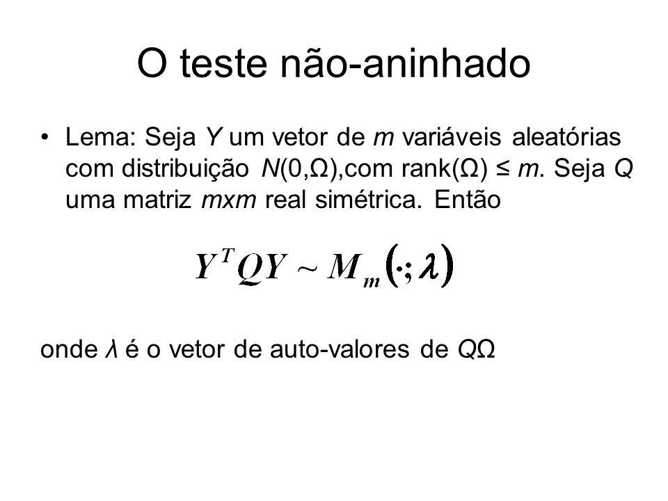 O teste não-aninhado Lema: Seja Y um vetor de m variáveis aleatórias com distribuição N(0,Ω),com rank(Ω) m. Seja Q uma matriz mxm real simétrica. Entã