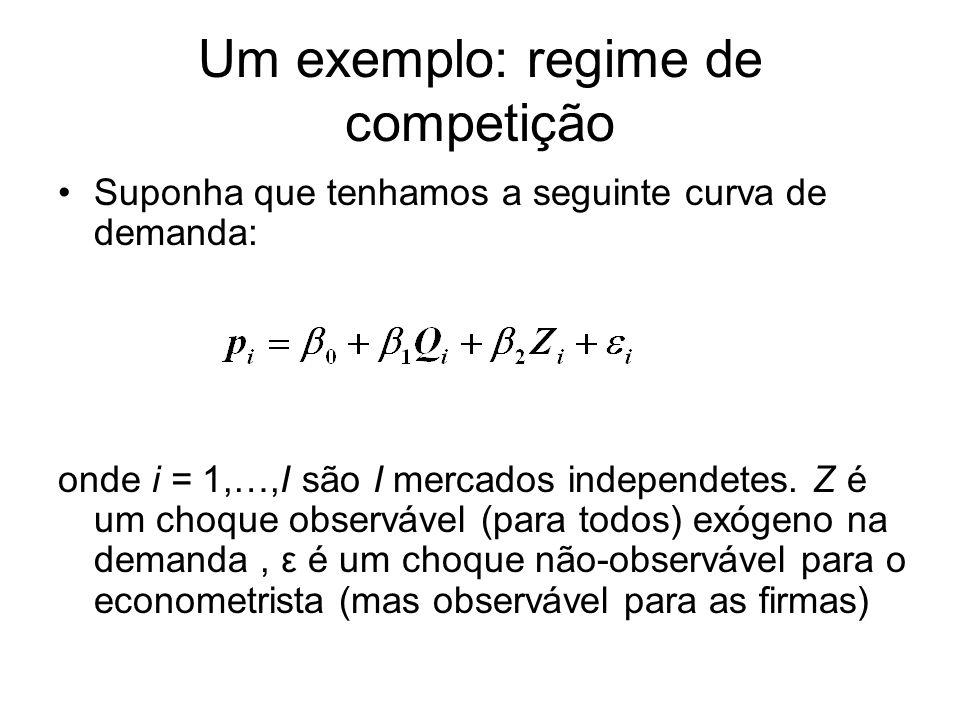 Um exemplo: regime de competição Suponha que tenhamos a seguinte curva de demanda: onde i = 1,…,I são I mercados independetes. Z é um choque observáve