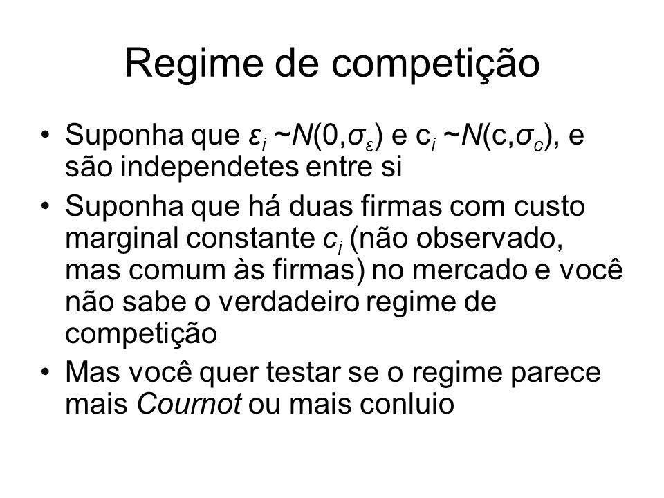 Regime de competição Suponha que ε i ~N(0,σ ε ) e c i ~N(c,σ c ), e são independetes entre si Suponha que há duas firmas com custo marginal constante