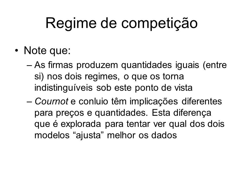 Regime de competição Note que: –As firmas produzem quantidades iguais (entre si) nos dois regimes, o que os torna indistinguíveis sob este ponto de vi