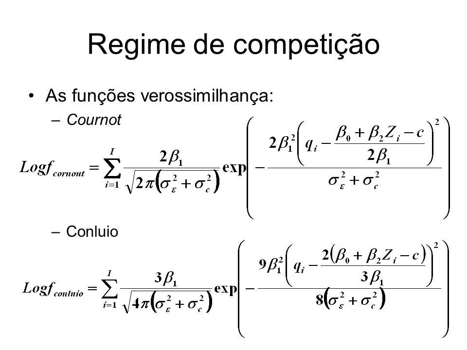 Regime de competição As funções verossimilhança: –Cournot –Conluio