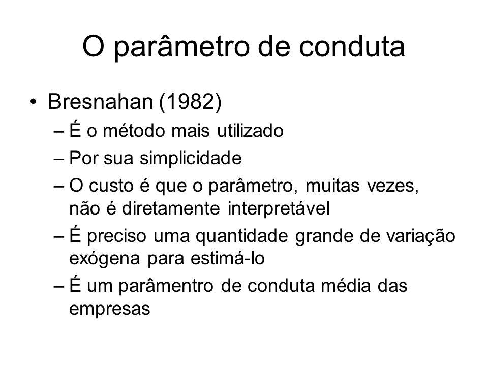 O parâmetro de conduta Bresnahan (1982) –É o método mais utilizado –Por sua simplicidade –O custo é que o parâmetro, muitas vezes, não é diretamente i