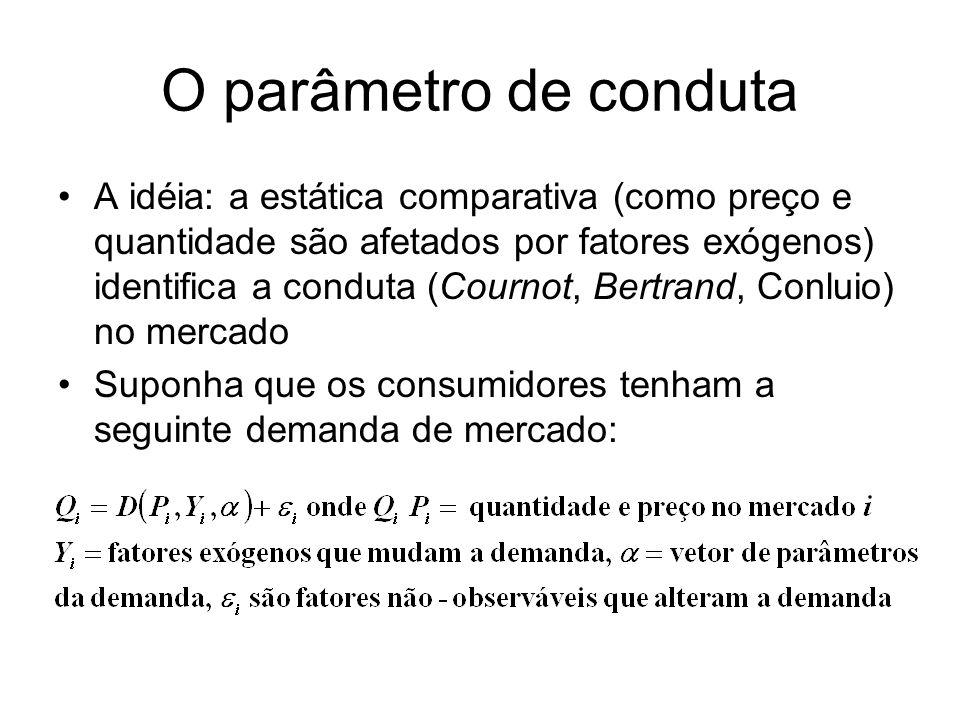 O parâmetro de conduta A idéia: a estática comparativa (como preço e quantidade são afetados por fatores exógenos) identifica a conduta (Cournot, Bert