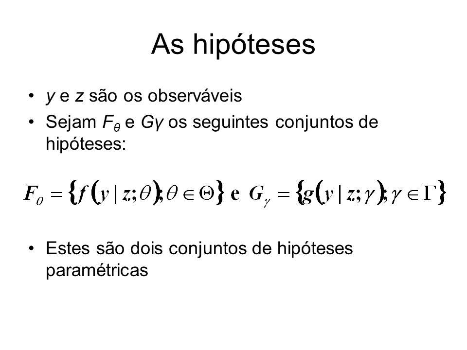 As hipóteses y e z são os observáveis Sejam F θ e Gγ os seguintes conjuntos de hipóteses: Estes são dois conjuntos de hipóteses paramétricas