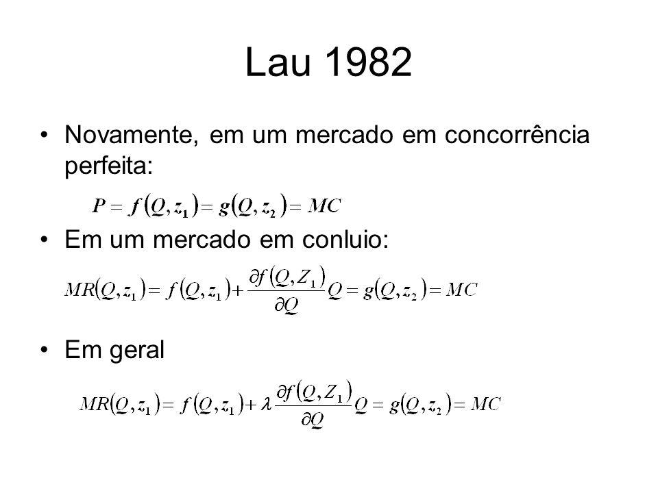 Lau 1982 Novamente, em um mercado em concorrência perfeita: Em um mercado em conluio: Em geral