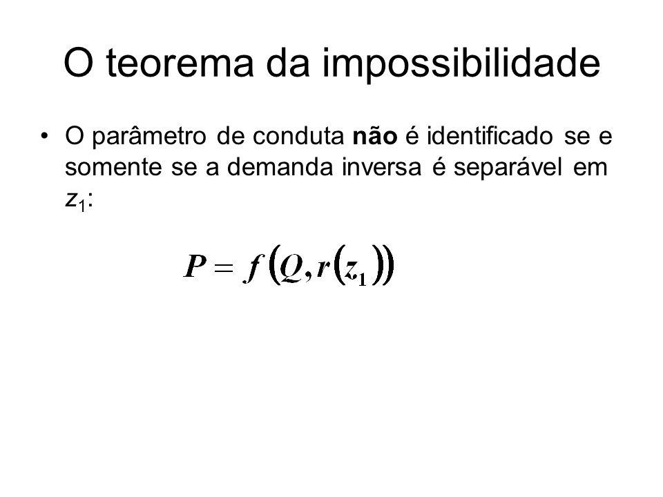 O teorema da impossibilidade O parâmetro de conduta não é identificado se e somente se a demanda inversa é separável em z 1 :