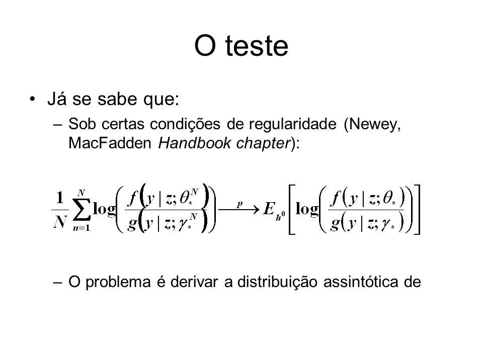 O teste Já se sabe que: –Sob certas condições de regularidade (Newey, MacFadden Handbook chapter): –O problema é derivar a distribuição assintótica de