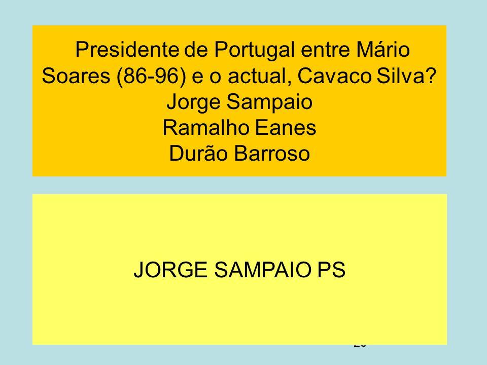 20 Presidente de Portugal entre Mário Soares (86-96) e o actual, Cavaco Silva? Jorge Sampaio Ramalho Eanes Durão Barroso JORGE SAMPAIO PS
